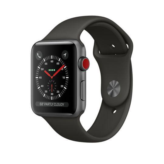 Apple Watch 38mm S3 Корпус из алюминия цвета «серый космос», спортивный ремешок серого цвета