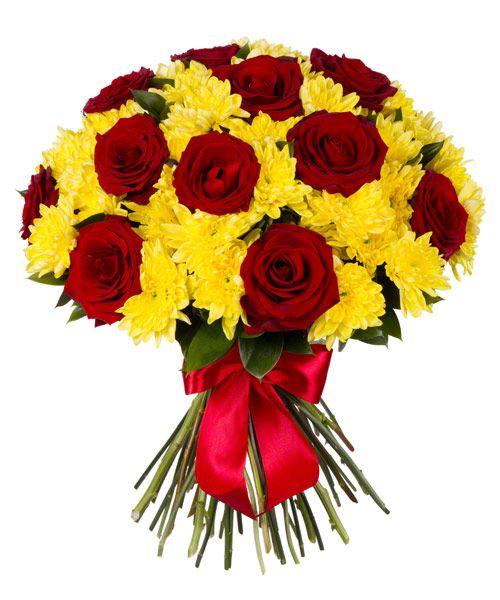 Букет из роз и хризантем «Рубины в янтаре»