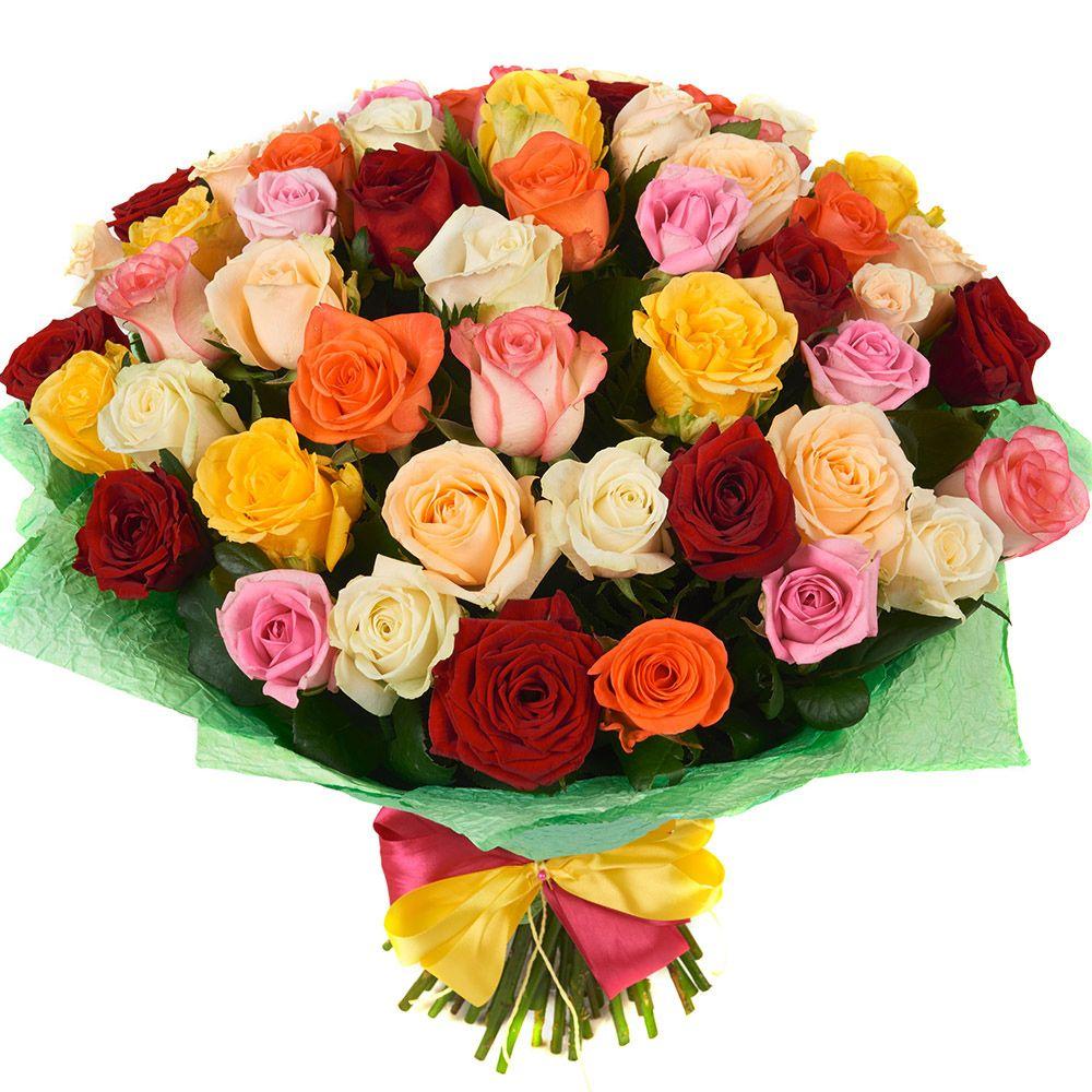 Букет из разноцветных роз «Калейдоскоп роз»