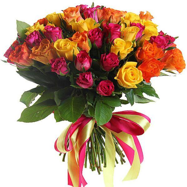 Букет из разноцветных роз «Ламбада»