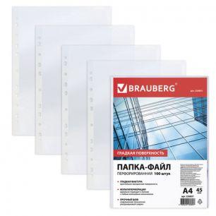 Папки-файлы перфорированные, А4, BRAUBERG, комплект 100 шт., гладкие, 0,045 мм, 226831
