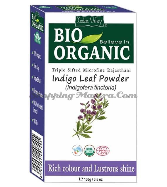 Натуральный порошок индиго для окрашивания волос Индус Веллей   Indus Valley Organic Indigo Powder For Hair