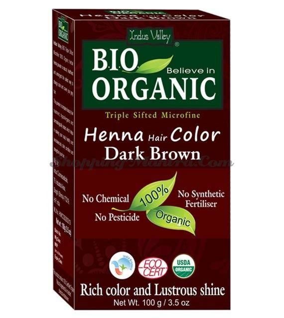 Натуральная краска для волос темно-коричневый Индус Веллей   Indus Valley Dark Brown Henna Hair Color