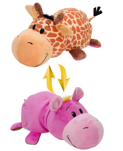 Мягкая игрушка Вывернушка 2 в 1 1 TOY - Жираф - Бегемот, 35 см