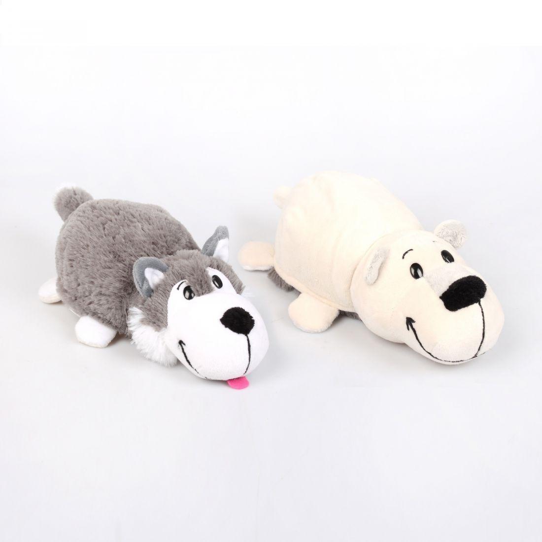 """Мягкая игрушка """"Вывернушка"""" 2 в 1 1 TOY  Хаски - Полярный медведь, 12 см"""