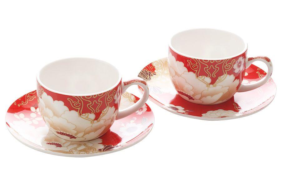 """Набор: 2 чашки с блюдцами """"Кимоно"""" (красный), 0.1 л, подарочная упаковка"""