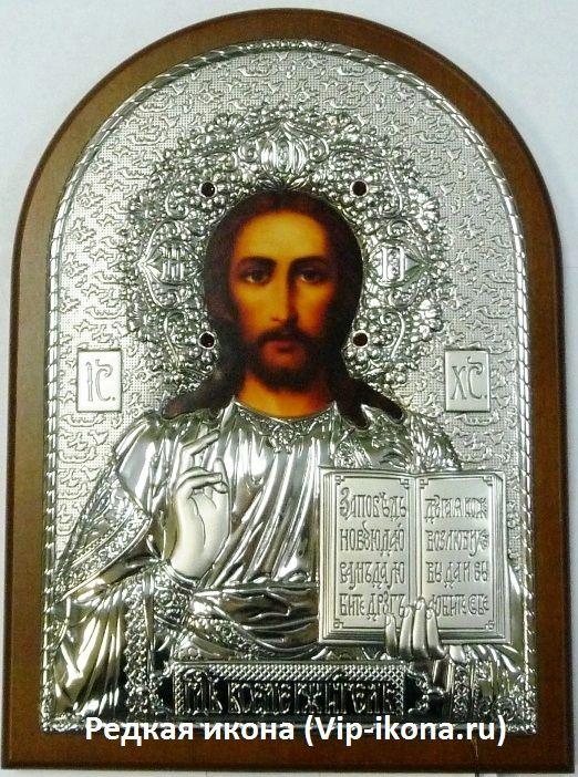 Инкрустированая драгоценными камнями серебряная икона Иисуса Христа Спасителя (14.5*20см., Россия) в подарочной коробке