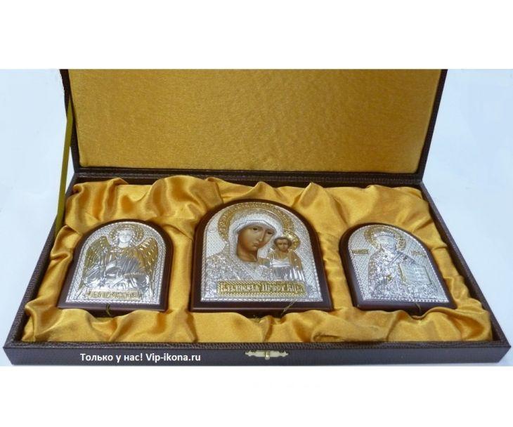 Небольшой подарочный набор из трех икон (триптих, Россия) в VIP-упаковке в красном дереве