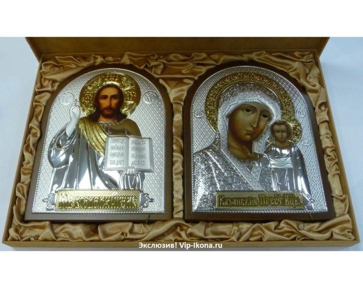 Подарочный набор (венчальная пара) Христа и Божьей Матери (19*25см., коричневое дерево, Россия) в VIP-упаковке