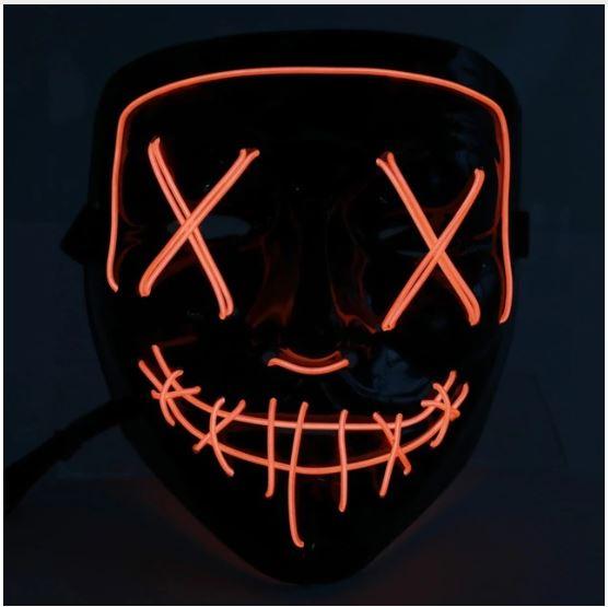 Неоновая маска Судная ночь, цвет оранжевый