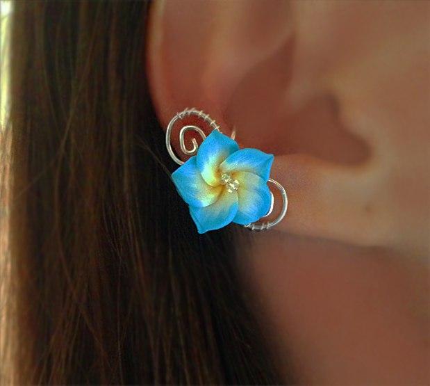 """Кафф """"Гавайский цветок"""" голубой"""
