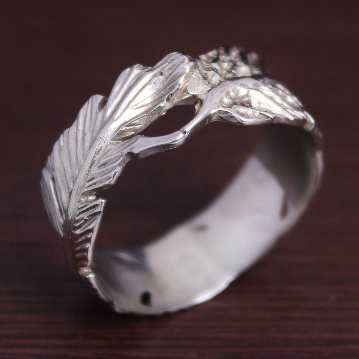 """Кольцо  """"Перо"""" латунь и покрытие под серебро"""