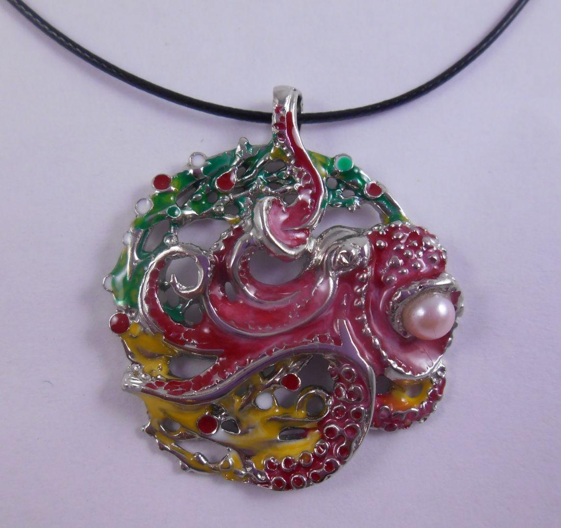 Кулон Осьминог из латунь и покрытие под серебро (зелёные водоросли)