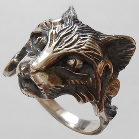 """Кольцо  """"Кот манул"""" латунь и покрытие под серебро"""