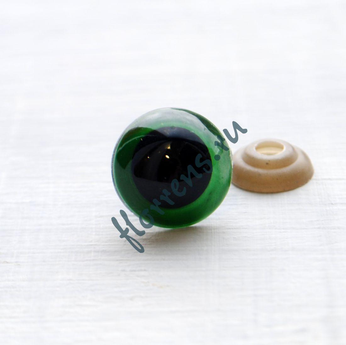 Глаза кристальные с шайбами d 18 мм / зеленый