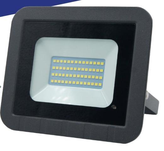 General прожектор св/д с микроволн. датчик+фотосенсор 20W(1650lm) SMD 6K 100x80x26 IP65 GTAB 403500