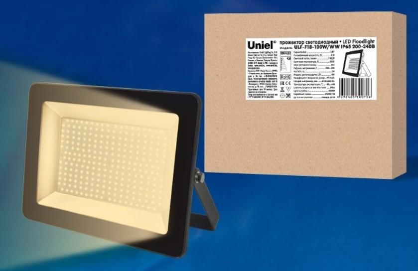 ULF-F18-200W/WW IP65 200-240В BLACK Прожектор светодиодный. Теплый белый свет (3000K). Корпус черный