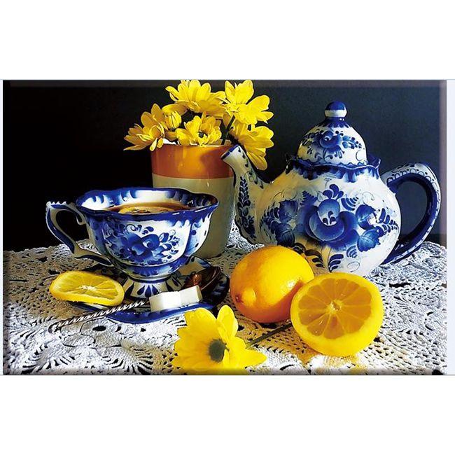 Алмазная вышивка Чай с лимоном (DA-1115 40 х 30 см) картина стразами