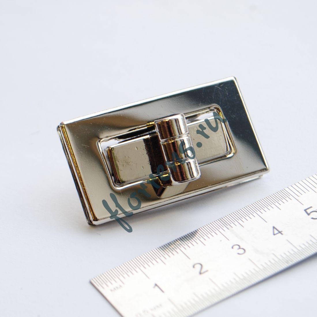 Застежка / замок для сумки 44 х 29 мм / серебро