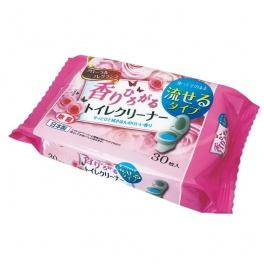L-D Влажные салфетки (водорастворимые, спиртосодержащие, с антибактериальным эффектом, для обработки унитаза, цветочный аромат) 30шт