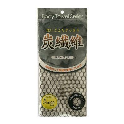 LEC Мочалка для тела (мягкая с угольной нитью) 24см*100см, Цвет: Бело-черный 1шт