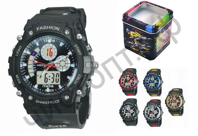 Часы наручные iTaiTek IT-912 двойное время ,подсветка ,таймер , будильник водонепроницаемые
