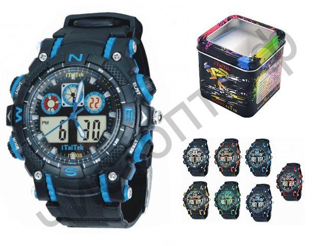 Часы наручные iTaiTek IT-933 двойное время ,подсветка ,таймер , будильник водонепроницаемые