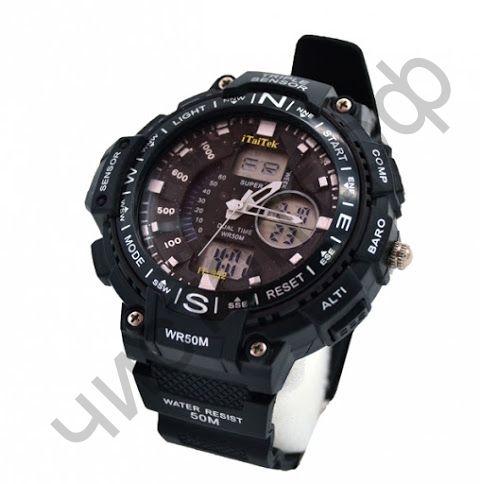 Часы наручные iTaiTek IT-952 двойное время ,подсветка ,таймер , будильник водонепроницаемые
