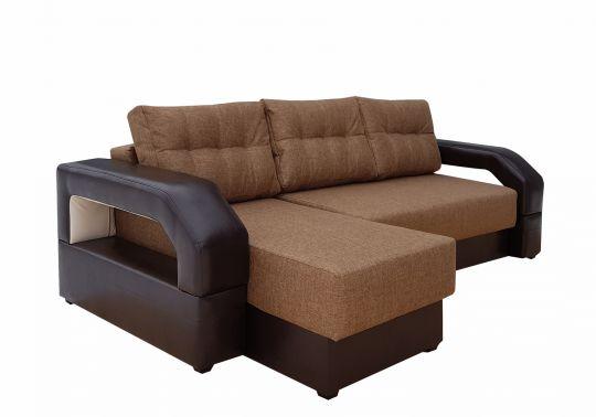 Угловой диван Манчестер с подсветкой коричневый