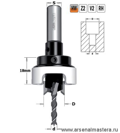 CMT 515.412.11A Сверло с зенкером и ограничителем 90гр HW Z2/2 S10X25 D4/12 RH