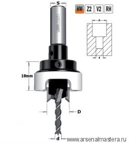 CMT 515.515.11A Сверло с зенкером и ограничителем 90гр HW Z2/2 S10X25 D5/15 RH