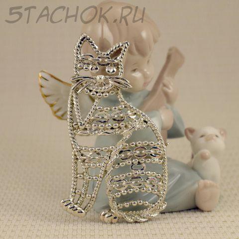 """Брошь """"Ажурная кошка"""" цвет серебра (Danecraft США)"""