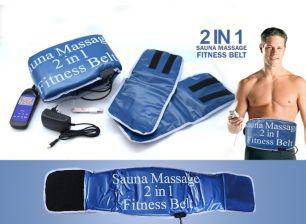 Пояс для похудения SAUNA MASSAGE 2 IN 1 FITNESS BELT вибро с подогревом