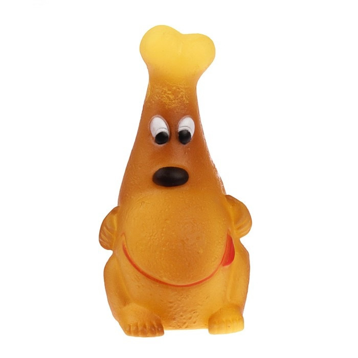 Игрушка-пищалка для собак Моська на косточке, 12 см