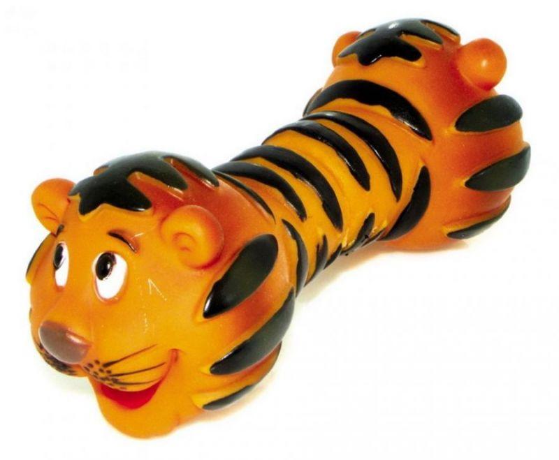 Виниловая игрушка-пищалка для собак Гантель Тигр, 18,5 см