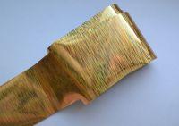 Фольга для дизайна ногтей, литья (переводная). Цвет: золотые полосы (Размер: 4см на 1 метр)
