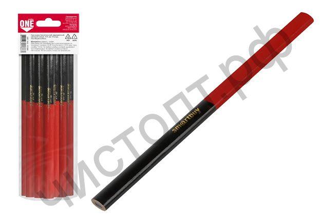 Карандаш строительный, двуцветный, красный/синий, 175 мм 10 штук,  Smartbuy One Tools