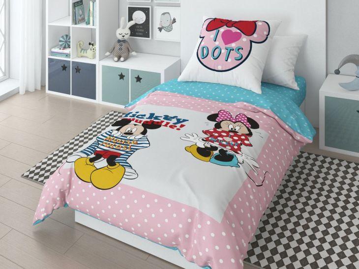 """Детское постельное белье """"Микки и Минни Маус в горошек"""" 1,5 спальный"""