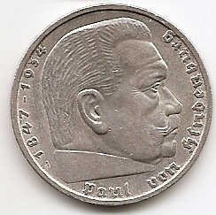 Гинденбург 5 марок Германия 1935