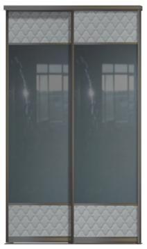 Двери купе - Зеркало+Кожа, комбинированные