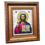 Икона ИИСУС ХРИСТОС на перламутре в багете