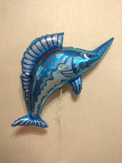 Рыба-меч фольгированный шар с гелием
