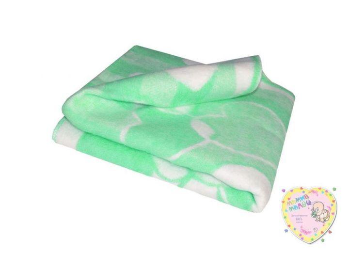 Одеяло детское байковое 118х110 (зеленый зайцы)