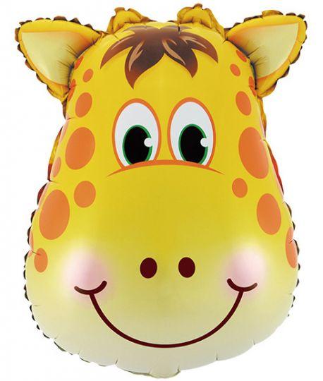 Голова жирафа шар фольгированный с гелием