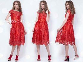 Красное коктейльное платье длины миди