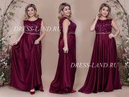 Бордовое вечернее платье с атласной юбкой
