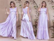 Светло-сиреневое вечернее платье с атласной юбкой