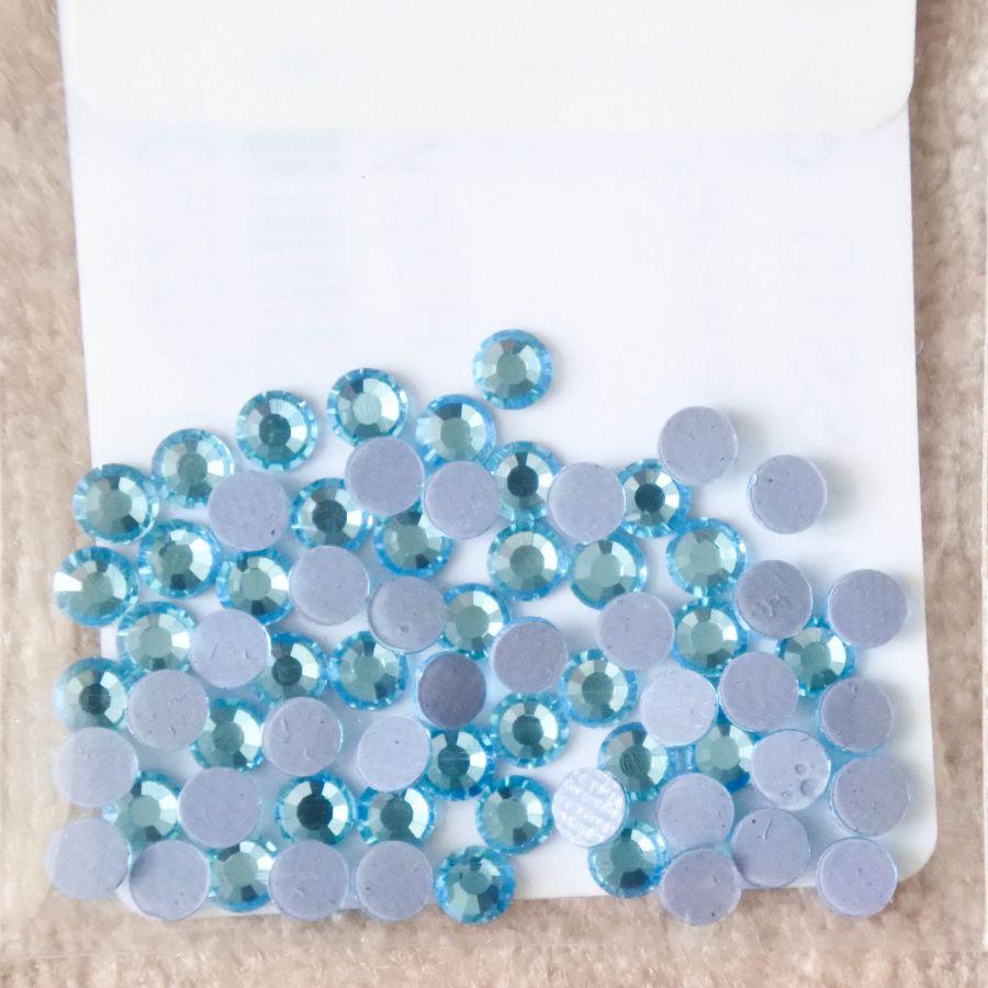 Стразы стеклянные клеевые, цвет Светло-Бирюзовый, SS10, 70 шт/упак