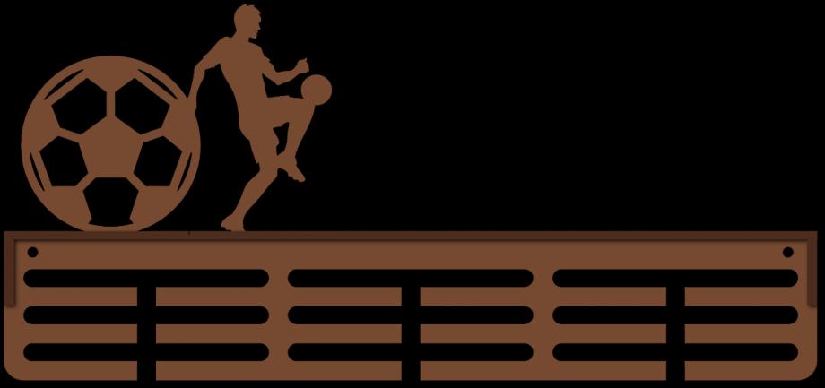 Медальница футбол с полкой простая из дерева на заказ