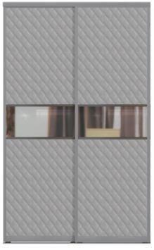Двери купе с одной вставкой - КОЖА+ЗЕРКАЛО+КОЖА комбинированные